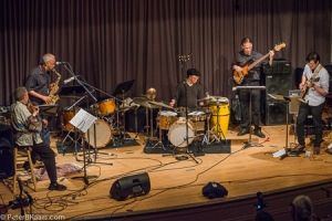 Louis Jordan's Music at Large:  India Cooke, Jordan, JImmy Biala, John-Carlos Perea, Karl Evangelista.  Photo by Peter B. Kaars.
