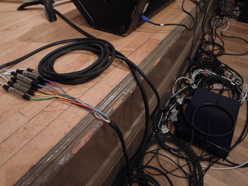 Cables! The setup for an electronic-music show is more involved than for a string quartet.