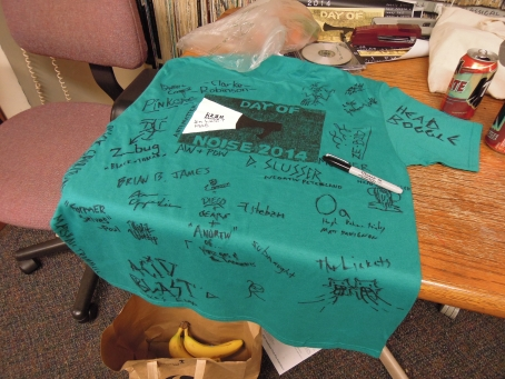 The Day of Noise tradition: the autographed T-shirt.